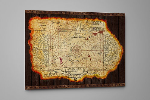 """One-Eyed"""" Willy's Transformative Treasure Map, Custom Made Canvas or Poster Art"""