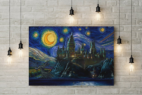 A Starry Night at Hogwarts Van Gogh Parody,  Custom Raised Canvas or Poster Art