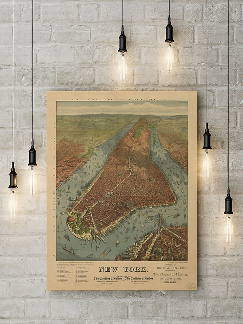 Root and Tinker 1879 Map of Manhattan, Custom Raised Canvas or Poster Art