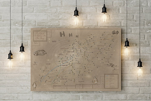 A Galactic Navigational Chart Star Wars Fan Art, Custom Canvas or Poster