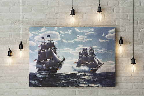 The USS Constitution Fights, War of 1812, Custom Made Canvas or Poster Art