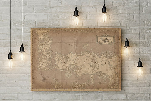 Inspired Westeros & Essos Known World Map, Canvas or Poster Art