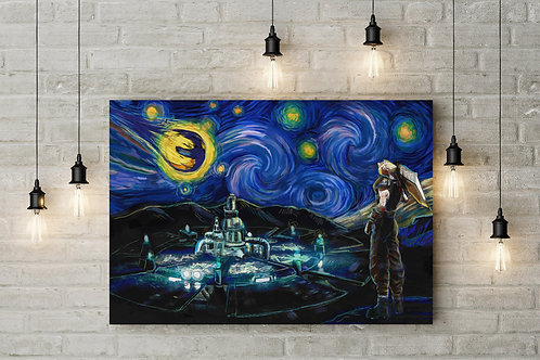 Arrival at Midgar Under a Starry Sky, FFVII, Custom Made Canvas or Poster Art