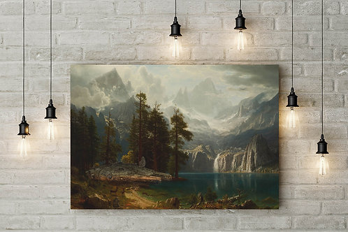 A Falcon in the Rockies, Bierstadt, Custom Raised Canvas or Poster Art