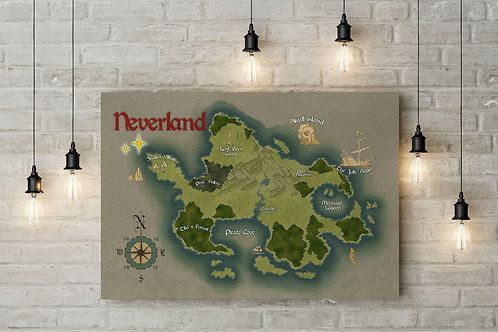 A Neverland Fairy Tale Map, Lost Boys, Custom Raised Canvas or Poster