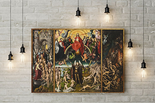 The Last Judgment, Bosch 16th Century Triptych, Custom Raised Canvas or Poster