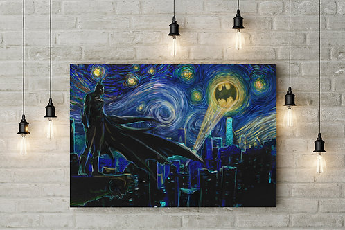 A Dark Starry Knight, Stoic Sentinel, Custom Raised Canvas or Poster