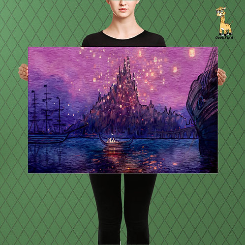 A Tangled Starry Sky, Rapunzel Van Gogh Fusion, Custom Canvas or Poster Art