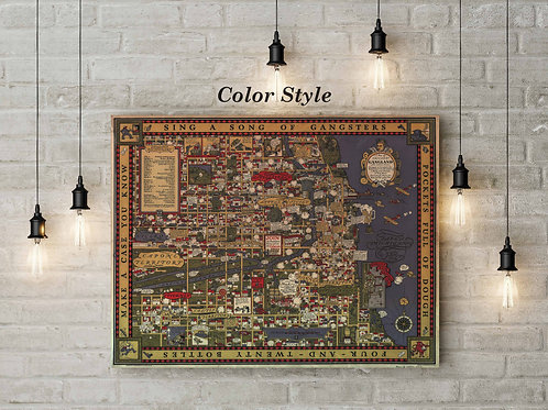 Chicago Gangland Prohibition Era Pictorial Map, Custom Raised Canvas or Poster