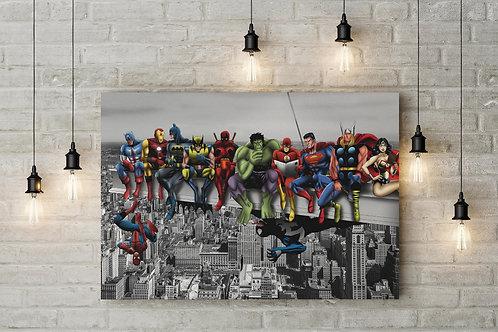 Superhero Work Lunch Break in NYC, Custom Raised Canvas or Poster