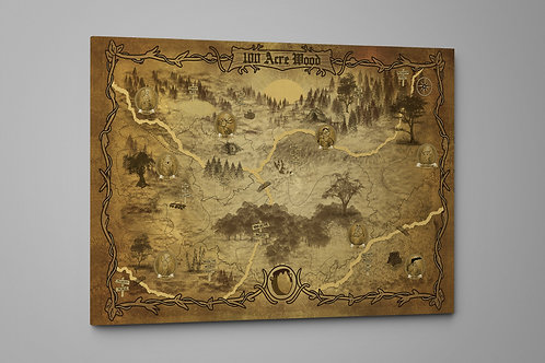 A Map of 100 Acre Wood,100 Akers, Custom Raised Canvas or Poster Art