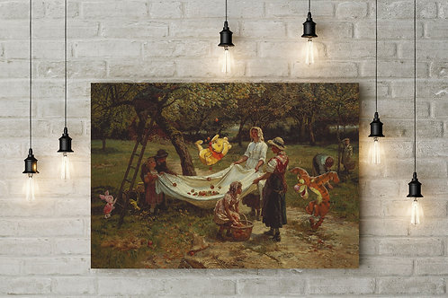 Pooh and 100 Aker Friends Apple Picking, Custom Canvas or Poster