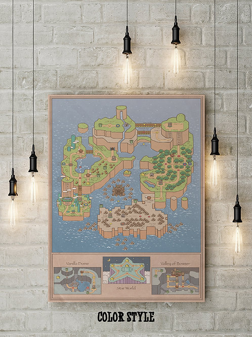 An Imagining of Super Mario SNES World Map, Custom Raised Canvas or Poster Art