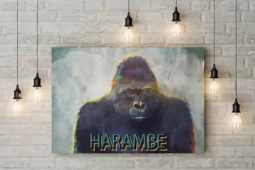 A Departed Sliver King, Harambe Retro Themed Raised Canvas or Poster Art