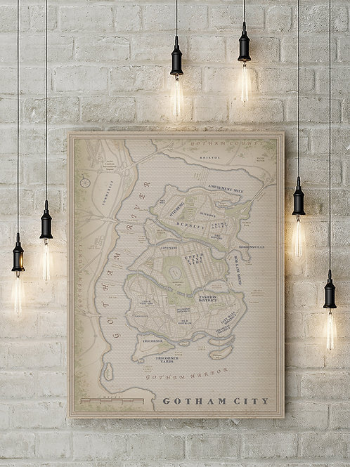 A Gotham City Inspired Fan Map, Custom Canvas or Poster Art