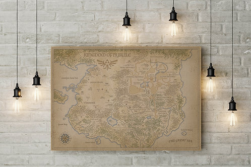 A Fan Map of Hyrule Kingdom, Custom Raised Canvas or Poster Art