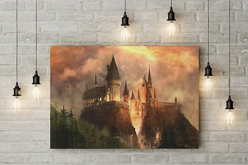 Dusk Comes to a Wizarding Castle, Custom Made Canvas or Poster Art