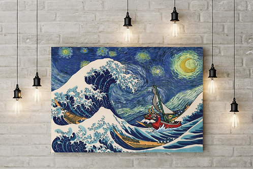 An Elven Warrior Cruises Under A Starry Sky, Custom Raised Canvas or Poster Art