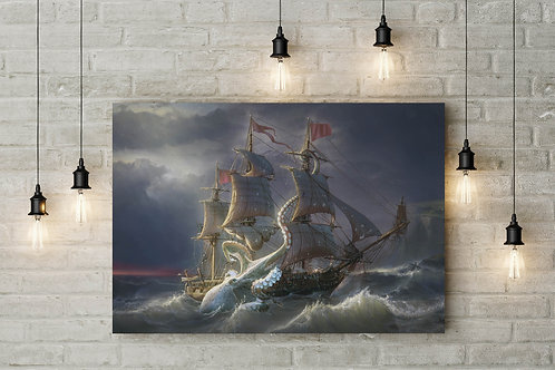 Rise of The Kraken, Leviathan Cometh, Custom Raised Canvas or Poster Art