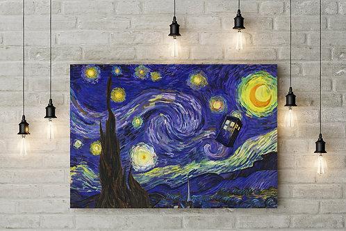 Doctor Aloft In a Starry Sky, Tardis Parody, Custom Made Canvas or Poster