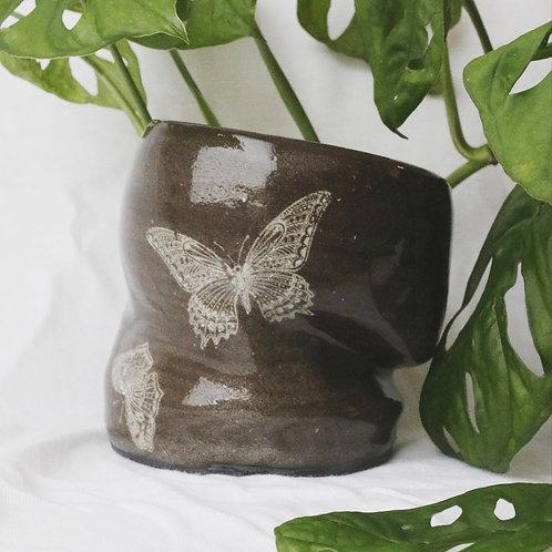 Dark brown butterfly planter
