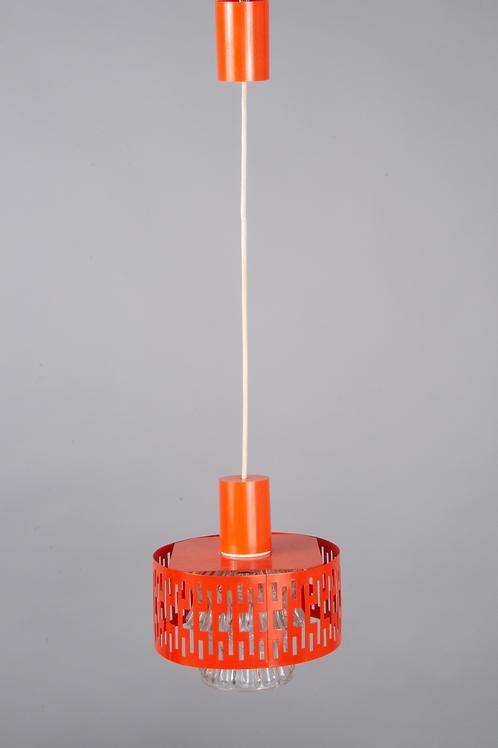 Hängelampe, Hersteller unbekannt, 70er-Jahre, orange, Metall/Glas, nicht gemarkt