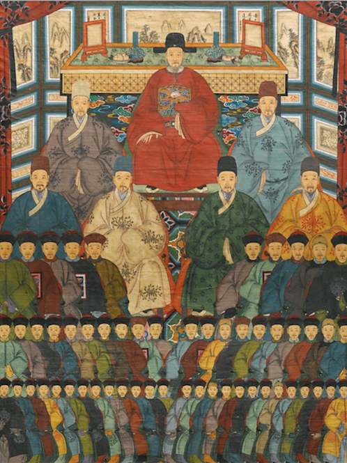 Paar grosse Ahnenbilder, China 19. Jahrhundert