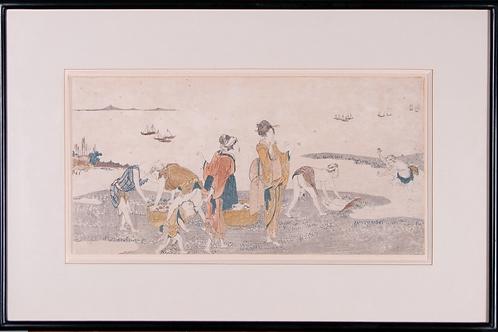 Katsushika Hokusi Surimono - Muschelsammeln