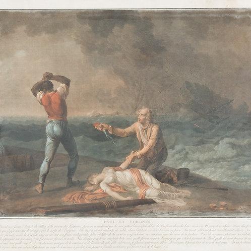Paul et Virgine. Charles Melchior Descourtis. Frankreich, 1753–1820