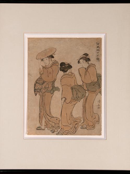 Torii Kiyonaga - Hofdame mit zwei Dienerinnen