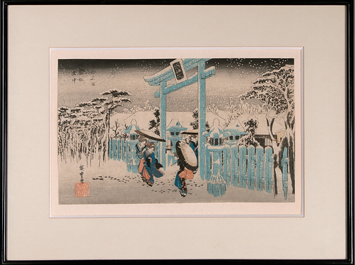 Hiroshige I / Toyokuni III , Triptychon, Yuki no nagame aus der Serie Furyu Gani
