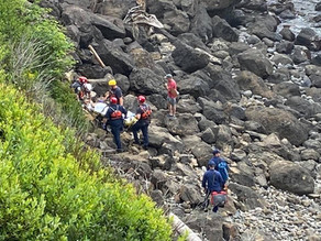 Rope Rescue In Depoe Bay