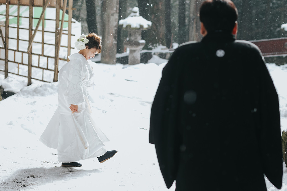 日光世界遺産ウェディング  栃木結婚式カメラマン 雪の日光東照宮