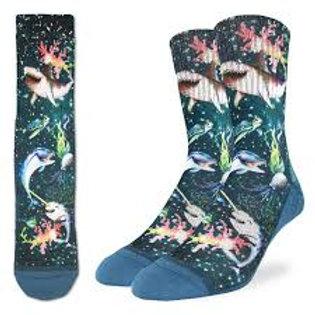 Good Luck Socks Happy Sea Life