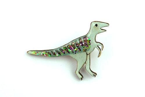 Glittery Green Velociraptor Pin Badge