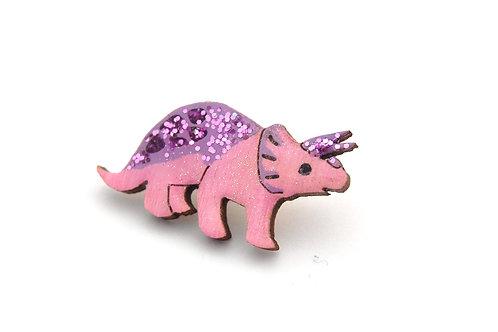 Triceratops Pin Badge Pink & Purple