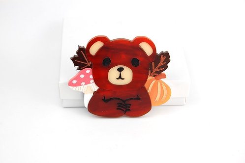 Autumn Bear Acrylic Brooch