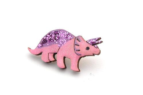 Triceratops Dinosaur Pin - Pink & Purple