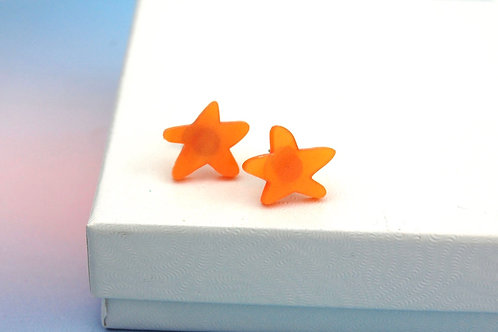 Starfish Earrings - Orange Acrylic