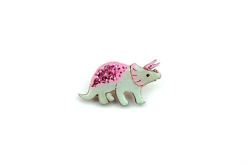 Triceratops Pin Badge - Pastel Green & Pink