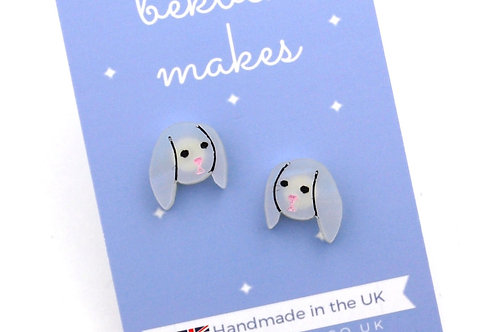Little Bunny Acrylic Earrings - Iridescent White