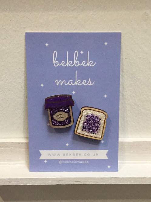 Jam on Toast Pin Set - Blackcurrant