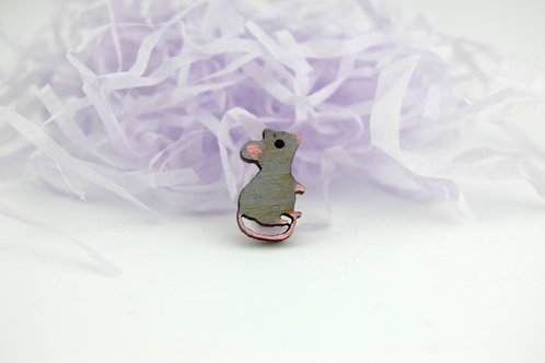 Little Grey Mouse/Rat Pin Badge