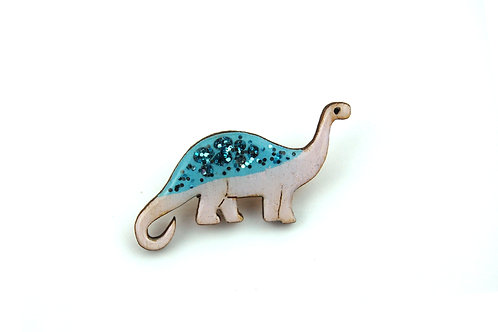 Diplodocus Pin Badge - Pastel Purple and Blue