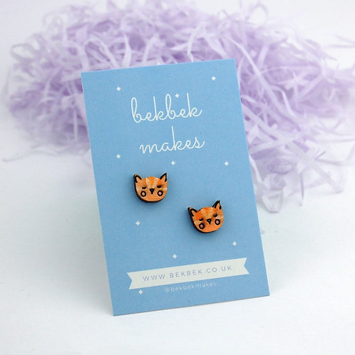 Sleepy Kitty Earrings - Ginger