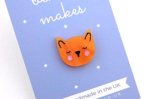 Little Kitty Cat Acrylic Pin Badge - Orange/ Ginger