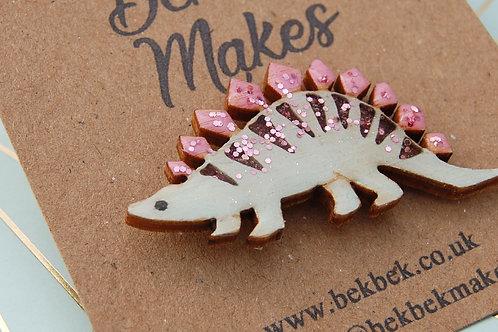 Stegosaurus Pin Badge - Pink & Green