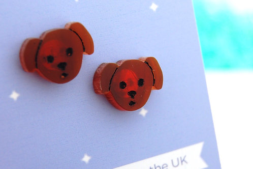 Little Pup Acrylic Earrings - Brown