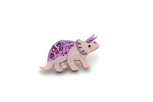 Triceratops Dinosaur Pin - Iris & Purple