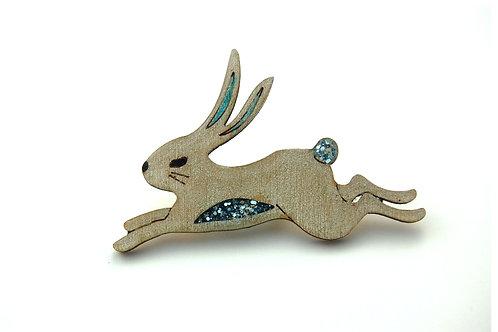 Snow Hare Pin Badge